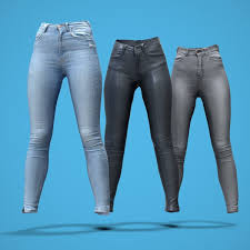 grey and blue jeans leather pants collection low poly 3d model