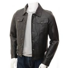 mens black leather denim jeans style waxed sheep aniline leather jacket mj 512