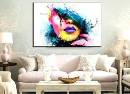 large wall art wall art for large fashion painting canvas women face picture abstract figures hand painted colorful y girl oil painting in painting