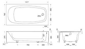 tub dimensions standard average size width specifications clawfoot sizes cast iron si
