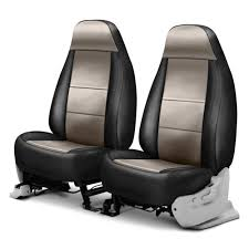 coverking premium leatherette 1st row black taupe custom seat cover