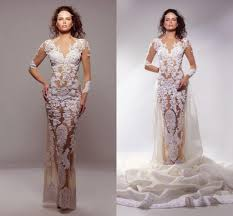 2016 sheer lace wedding dresses v neck fitted illusion tulle see