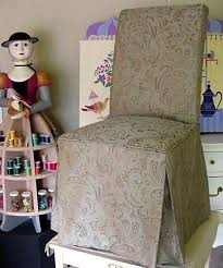 """Priscilla's Parsons Chair Slip Cover - By Mary Maki Rae - """"Isabella"""" Wood  Sculpture By Robert Rae   Custom upholstery, Chair, Parsons chairs"""