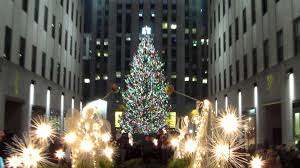 happy holidays from the rockefeller center tree lighting in new york city usa you