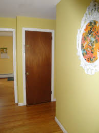 white interior doors with brown trim