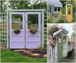 painted old doors are great as garden gates that can quickly add a color pop to your garden