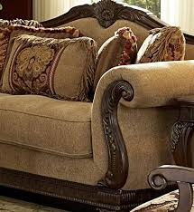 traditional living room fabric and wood trim curved sofa ashley sofa with wood trim