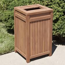 square teak outdoor trash cans for waste organizer idea