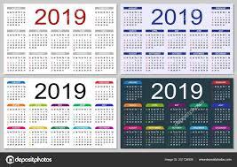 Basic Calendars Set Colorful Calendars 2019 Week Starts Sunday Basic Grid Simple