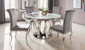 details about new orion round dining table white glass chrome base 4x grey plush velvet chairs