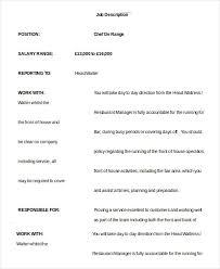 Surprising Head Waiter Job Description Resume 56 On Resume Examples with Head  Waiter Job Description Resume