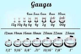 Ear Gauge Size Chart Actual Size Earring Gauge Actual Size Chart Jewelry Flatheadlake3on3