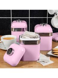 Retro Kitchen Canisters Swan Products Retro Storage Kitchen Canisters Pink Set Of 3