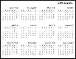 Template For 2020 Calendar Free Printable Calendar 2020 Template In Pdf Word Excel