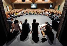 taking the drama out of high school howlround circle of students sitting onstage