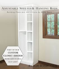 the build basic custom closet system by build basic adjule shelves and hanging rods