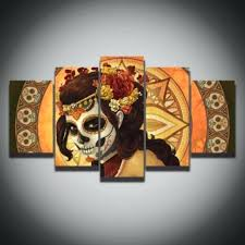 printed color sugar skull picture canvas painting modern decoration wall art decor for living room home