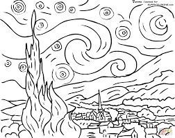 Small Picture Starry Night By Vincent Van Gogh coloring page SuperColoringcom