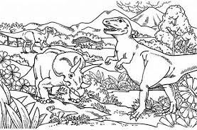 Small Picture Triceratops Attacking T Rex Coloring Page Color Luna