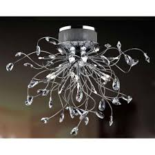 crystal pear 16 16 light semi flush crystal ceiling light with chrome finish