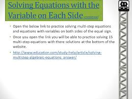 solving equations with the variable on each side continued