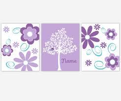 baby girls nursery canvas wall art purple lavender teal aqua flower burst daisies tree fl quatrefoil personalize name canvas prints baby nursery decor