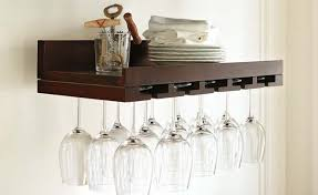 classic kitchen area with wooden brazilian walnut wall mounted wine glass rack hold 5 bottles