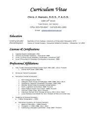 Curriculum Vitae Sample Format Template 8 Dentist European