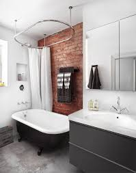 Bathroom: Small Loft Bathrooms With Exposed Brick Walls - Bathroom Walls