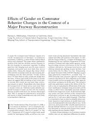Effects Of Gender On Commuter Behavior Changes In The Context Of A