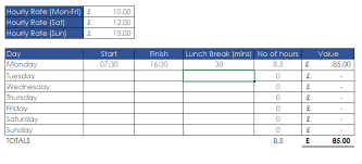 timecard with lunch breaks excel timesheet with lunch break templates franklinfire co