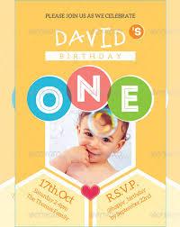 kids happy birthday card invitation template psd design