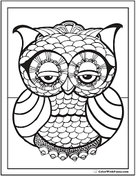 Small Picture Geometric Owl Coloring Page