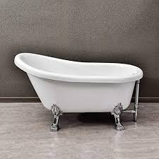 woodbridge 54 slipper clawfoot bathtub with solid brass polished chrome finish drain and