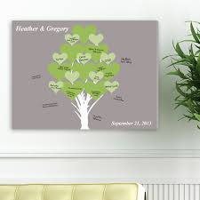 a pretty gray background frames this lovely blooming hearts a true symbol of everlasting love this signature canvas print features names of the couple and