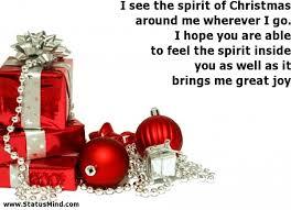 Christmas Spirit Quotes Classy I See The Spirit Of Christmas Around Me Wherever I StatusMind
