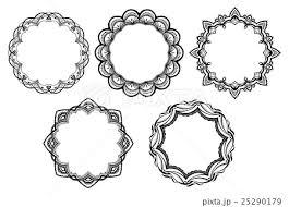 レース素材05 オシャレで可愛いフレーム 5パターンのイラスト素材