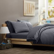 image of masculine blue and grey strip bedding