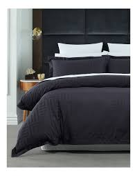 hotel collection opus interlocked quilt cover set in black image 1