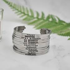 Inspirational Quotes Bracelets Stunning 48 Newest Quotes Bracelets 48L Stainless Steel Open Cuff Bangle