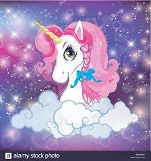 Unicorn head with pink mane portrait on ...