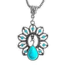 boho peacock crystal pendant necklace organza gift bag