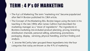 4 P S Of Marketing Chart Four Ps Of Marketing Ppt