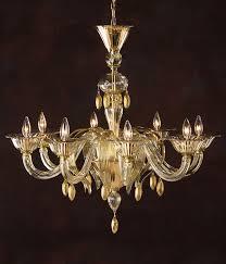 murano glass chandelier eight light hand blown clear and gold venetian glass chandelier