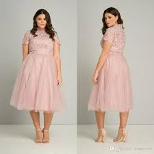 plus size catalogs tea length plus size prom dresses 2017 high neck pink lace appliqued