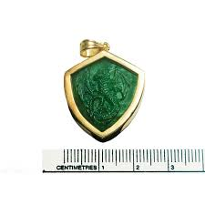 celtic dragon pendant heraldic hand carved jade gold plated sterling silver 925