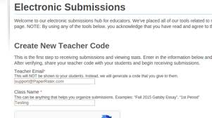 sshot electronic submission png as discussed in the quick start guide above generating a teacher code is the first step to accepting submissions what we mean by accepting submissions