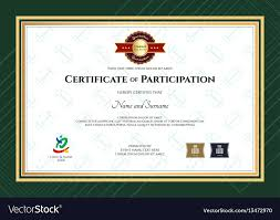 Certificate Outline Certificate Of Participation Template In Sport