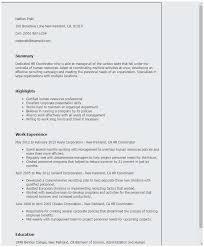 Human Resources Resume Template Best Sample Hr Coordinator