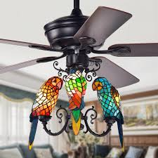 Tiffany Ceiling Fan Light Shades Details About Korubo 3 Light 52 Inch Lighted Ceiling Fan Tiffany Style Parrot Shades Remote